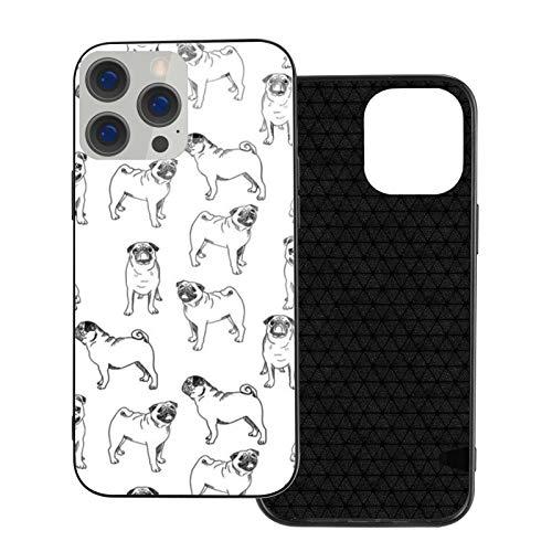 Funda de teléfono compatible con iPhone 12Pro Max-6.7 pulgadas, suave TPU cubierta de protección completa, parte trasera de cristal templado, lindo perro carlino negro y blanco