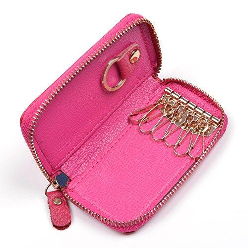 KLOUD City Car Keychain Key Holder Bag Wallet Cover/Six Key Hook Zipper Case with Card Holder (Hot Pink)