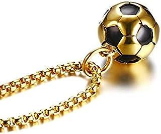 YANCONGCool Soccer Soccer Colgante Collar Hip Hop Sports Hombre Niño Collar Gratis Acero Inoxidable Cadena de Tono Dorado