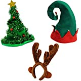 Funny Party Hats Christmas Hat Props – Elf Costume - Reindeer Antler Headband – Christmas Tree Hat - 3 Pack Holiday Hats
