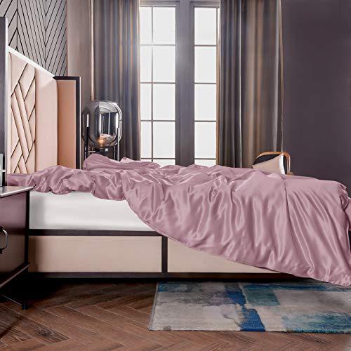THXSILK Seide Bettbezug, Seide Tröster Cover, Seidenbettwäsche, 100% 19 Momme Bestnote Maulbeerseide Bettwäsche - Lila 135 x 200cm