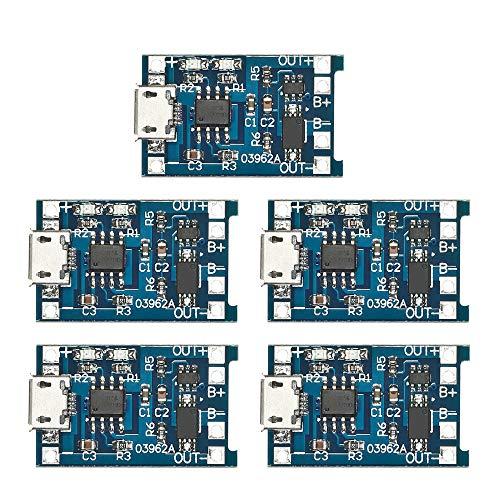 KKmoon 5pcs 5V 1A Micro USB 18650 Batteria Al Litio Ricarica + Modulo di Protezione del Circuito di Protezione
