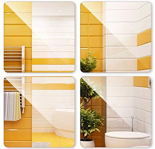 iFCOW Espejo autoadhesivo, 4 piezas de espejo adhesivo para pared de azulejos, impermeable, autoadhesivo, cuadrado, decoración del hogar, 30 x 30 cm