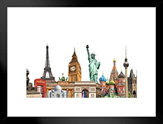 Poster Foundry World Landmarks Photo Collage Eiffel Tower Statue of Liberty Travel Tourism Matted Framed Wall Art Print 26x20 inch