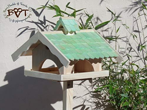Vogelhaus,groß,mit Nistkasten,BEL-X-VONI5-moos002 Großes wetterfestes PREMIUM Vogelhaus VOGELFUTTERHAUS + Nistkasten 100% KOMBI MIT NISTHILFE für Vögel WETTERFEST, QUALITÄTS-SCHREINERARBEIT-aus 100% Vollholz, Holz Futterhaus für Vögel, MIT FUTTERSCHACHT Futtervorrat, Vogelfutter-Station Farbe grün moosgrün lindgrün natur/grün, MIT TIEFEM WETTERSCHUTZ-DACH für trockenes Futter