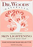 Dr. Woods Skin Lightening English Rose Bar Soap with Organic Shea Butter, 5.25 Ounce