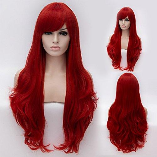 "CoastaCloud 29.5""Peluca Mujer Peluca Largo Pelo Ondulado Rizado Disfraz Cosplay Disfraces Señora Fiesta 75cm (Rojo)"