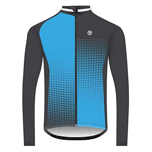 Proviz Classic Mens Long Sleeve Peloton Cycling Jersey Biking Cycle Top M Blue Dots