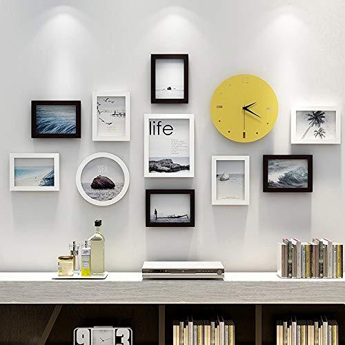 YANGMAN-F decoratieve kunstdrukken en hangsjabloon 10-delig fotolijstje met wandklok, wandgalerieset, acht 12x17 cm, een 19x24 cm, een ronde 20cm, zwart en wit