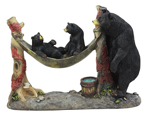 Ebros Mother Black Bear with Cubs in Outpost Camping Hammock Statue Wildlife Forest Rustic Cabin Decor Bear Family Figurine