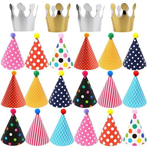 Ouceanwin 22Pcs Partyhüte Kindergeburtstag Set, Happy Birthday Partyhütchen mit Schnur, Krone Hut Kappe und Bunt Party Kegel Hüte mit Pom Poms für Geburtstag Festival Dekoration Foto Prop