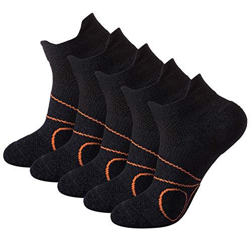Pauboland 5 Paar Running-Socken für Damen und Herren, Atmungsaktive Sportsocken, Anti-Geruch Gepolsterte Cool-Max Laufsocken Blasenschut,Schwarz,Größe M(38-42)