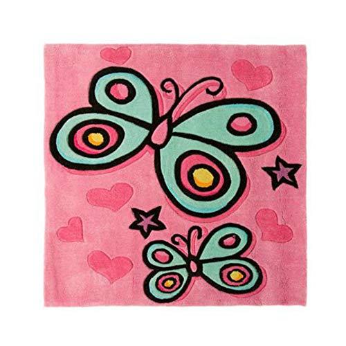 Characterland 'Butterfly Pink' Kinder Quadratischer Handtuft Acryl Schlafzimmer Teppich 3'x 3' (ungefähr)