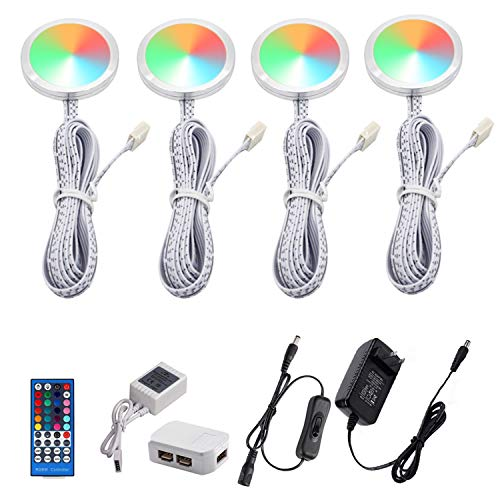 AIBOO RGBW RGB + White Color Changing Christmas Xmas Under Cabinet LED Lights Kit IR Remote Puck Lights for Kitchen Counter Shelf Furniture Ambiance Lighting (RGBW, 4 Lights, 12W)