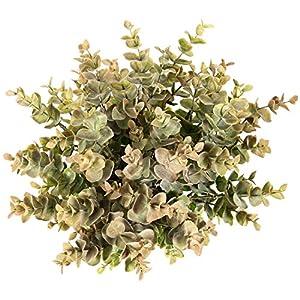 Flojery 4Pcs Artificial Eucalyptus Plant Fake Silver Dollar Eucalyptus Branches Greenery Wedding Jungle Theme Party Home Decor