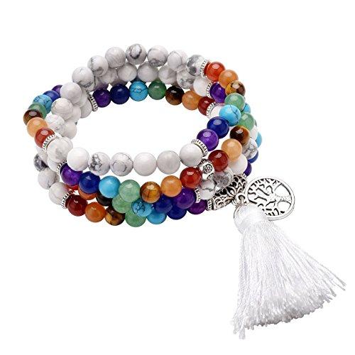 CrystalTears 108 Perlen Edelstein Yoga Armband Chakra Wickelarmband Buddha Tibetische Gebetskette Healing Reiki Stein Mala Kette Halskette mit Lebensbaum Anhänger (Howlite)