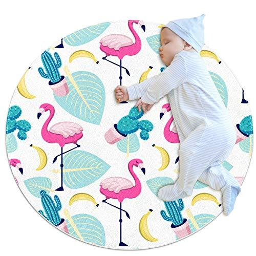 PLOKIJ Alfombra redonda para niños redonda alfombra circular alfombra redonda alfombra de suelo alfombra lavable a máquina, tropical flamenco, palmera, cactus plátano
