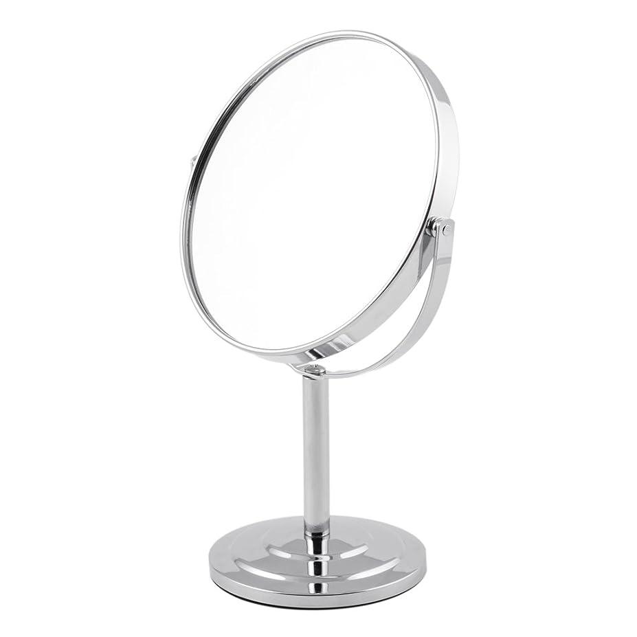 東ティモール乳製品封筒ARTRA シンプルデザイン 真実の両面鏡DX 5倍拡大鏡 360度回転 卓上鏡 スタンドミラー メイク 化粧道具 シルバー