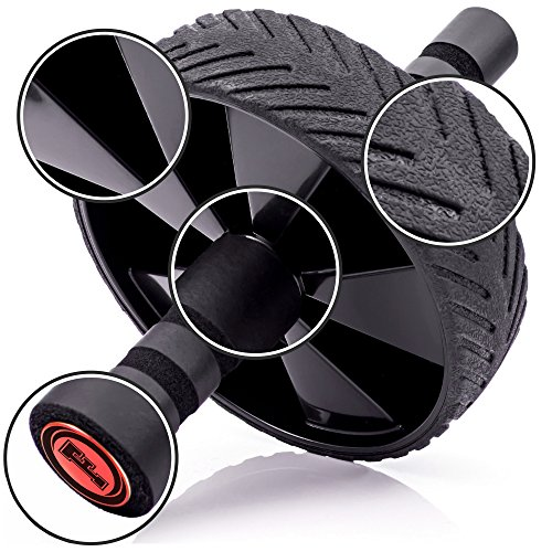 Fitnessery® Get Abs and Lose Weight - Ab Roller - Includes 3 BONUS Gifts: Ultimate Ab Workouts Ebook, Six Pack Abs Nutrition Ebook and Comfortable Knee Pad - Non-Slip Rubber Wheel - Foam Padded Handles - 24 Month Money-Back Guarantee