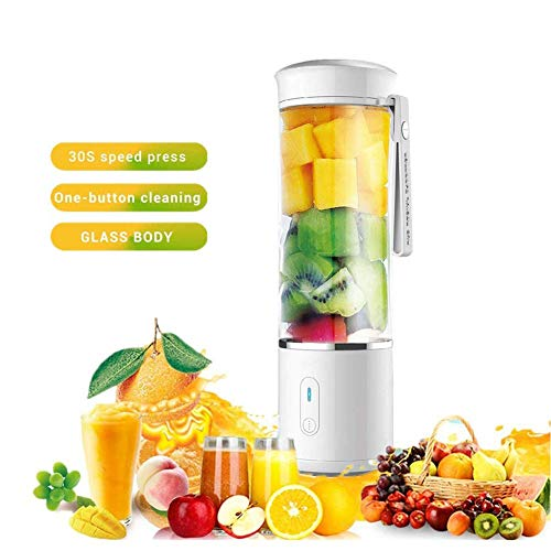 Portable Blender, 500ml Mini Electric Juicer Blender USB oplaadbare Personal Smoothie Cup, Babyvoeding Mixer 6 roestvrijstalen messen, for het huishouden, reizen, Outdoor, 500ml, BPA Gratis (wit)