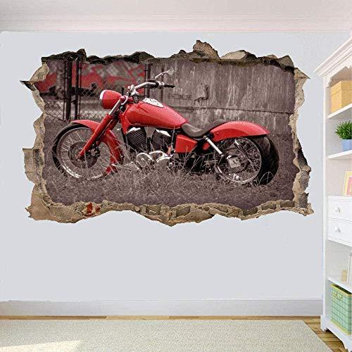 HUJL Pegatinas de pared Rouge Moto 3D Stickers Muraux Chambre Décoration Sticker Mural