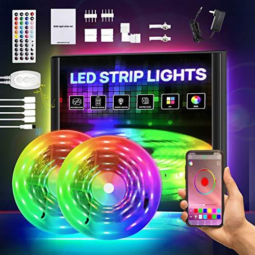 Smart LED Strip Lights 65.6ft, RGB Light Strip Kits with APP Control and Remote, 5050 SMD 12V DIY Color Changing LED Lights, LED Tape Lights for Bedroom Kitchen Cabinet TV Bar Party 32.8FT