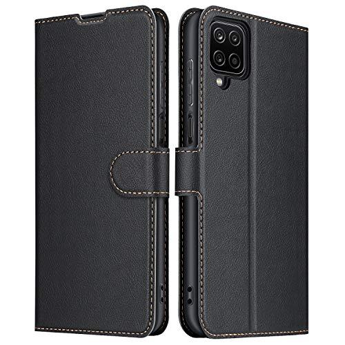 ELESNOW Hülle für Samsung Galaxy A12, Premium Leder Klappbar Schutzhülle Tasche Handyhülle mit [ Magnetisch, Kartenfach, Standfunktion ] für Samsung Galaxy A12 (schwarz)