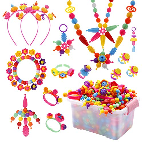 EXTSUD Pop Beads Set 700PCS+ DIY Jewelry Set BPA Free Making Necklace, Bracelet, Hairband and Ring Pop Snap Beads Set Creativity DIY Bead for Kids Girls Toddlers