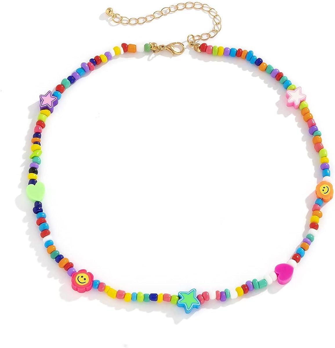 Boho Smiley SALENEW very popular Topics on TV Layered Beaded Necklaces Smile Strand with Bracelet