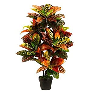 3′ Artificial Croton Plant in Pot Outdoor UV Topiary Tree Pool Office Silk Palm