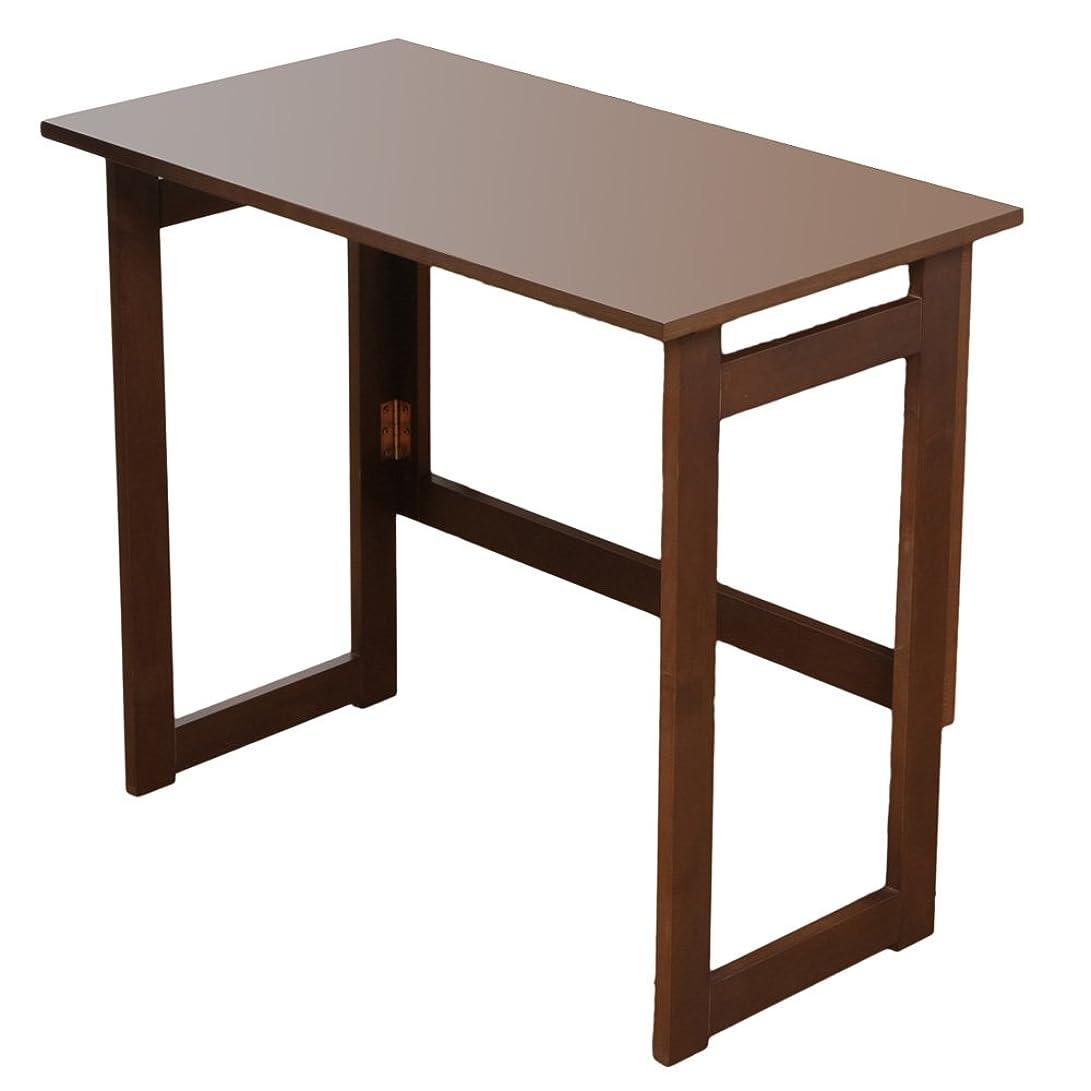 遊び場ショッキングマート天然木折りたたみテーブル 収納可能 組み立て不要 完成品 (高さ69cm, ブラウン)