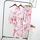 STJDM Bata de Noche,Verano sin Mangas Rayón Traje de Tres Piezas para Mujer Túnicas Casuales Pijamas Florales Frescos Pijamas Sauna Conjuntos de Vestidos Simples Pijama OneSize 3JT-3