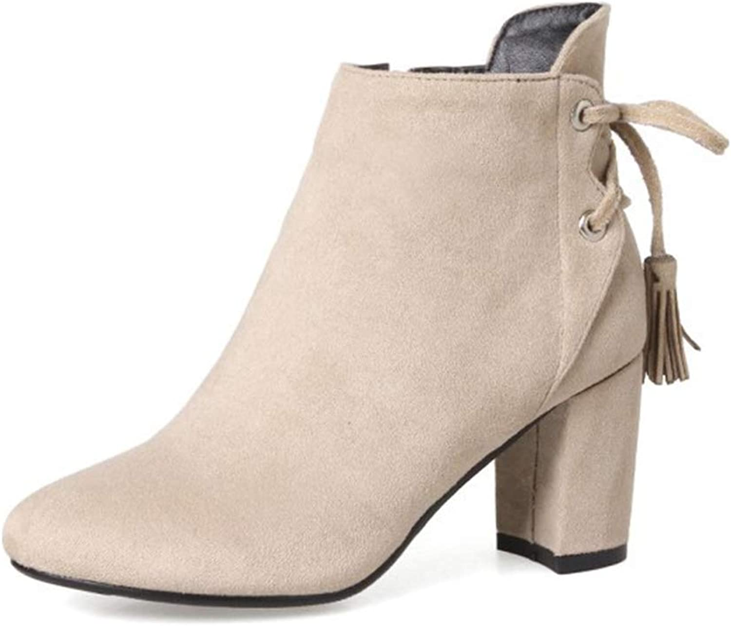 Ladies Booties,Suede Pointed Side Zipper Tassel Boots Women's Rear Lace-up High Heel Thick Heel Fashion Boots (color   A, Size   38)