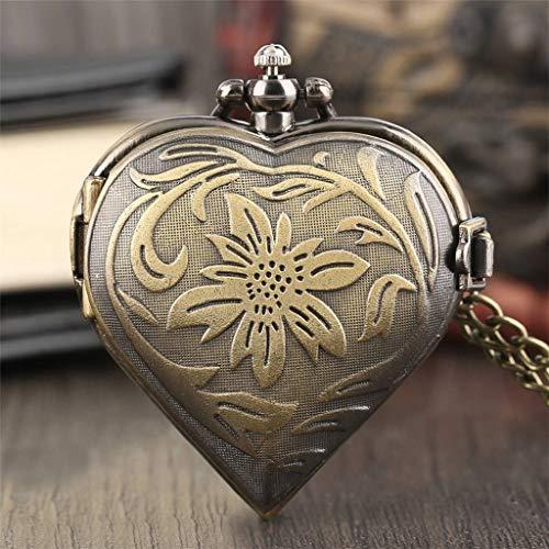 SLSFJLKJ Reloj de Bolsillo de Cuarzo con Forma de corazón con patrón de Flor de Bronce Retro, Collar Vintage, Cadena Colgante Steampunk para Hombres y Mujeres