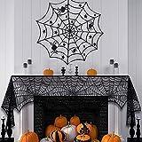 LUBINGT Black Lace Spider Web Tablecloth 8PCS Decoración de Halloween Lace Spider Web Skeleton Skull Mantel Spooky Bat Spiderweb Encaje Decoración de Halloween