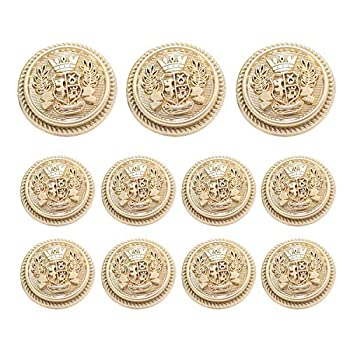 Grekywin High-Grade British Style Metal Buttons for Coat Blazer Suits Uniform Jacket etc Crown Style  Frosted Gold
