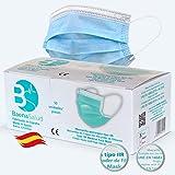 BAENA SALUD 50 Mascarillas Quirúrgicas, higiénicas, desechables, Tipo IIR, en color azul, filtración (BFE) 98%, hechas en España