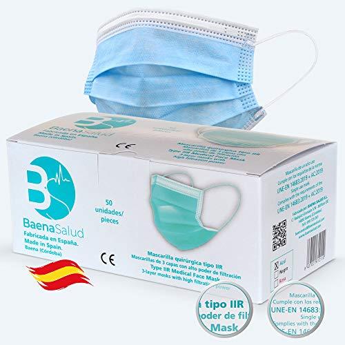 BAENA SALUD 50 Mascarillas Quirúrgicas, higiénicas, desechables, Tipo IIR, en color...