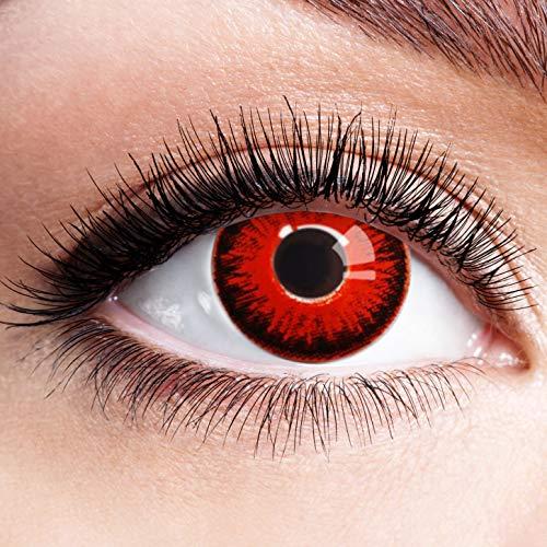 Farbige Kontaktlinsen Schwarz Rot Ohne Stärke mit Motiv Linsen Halloween Karneval Fasching Cosplay Kostüm Black Red Eyes Schwarze Rote Augen Devil Volturi Vampir Feuer