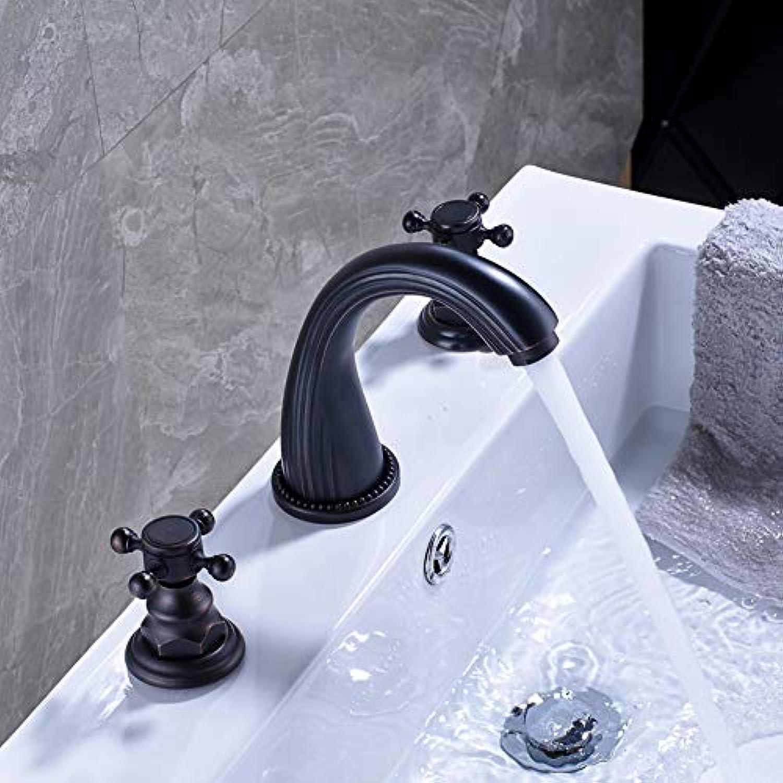 Waschtischarmatur Schwarzes Weit Verbreitetes 8-Zoll-Deckmischbatterie-Mischbatterien Doppelkreuzknopf-Badezimmer-Toiletten-Wannenhahn