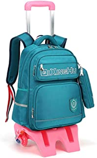 GLJJQMY Travel Backpack Large Capacity Men and Women Computer Bag Backpack High Pad Student Trolley Bag Trolley Backpack (Color : Green, Size : 42x14x31cm)
