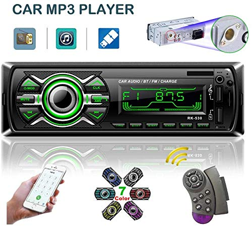 LSLYA 7 Retroiluminación en Color Coche Stereo Auto Radio Universal para automóvil Receptor estéreo 1 DIN Bluetooth MMC/USB/SD/AUX/FM Control Remoto del Volante del teléfono