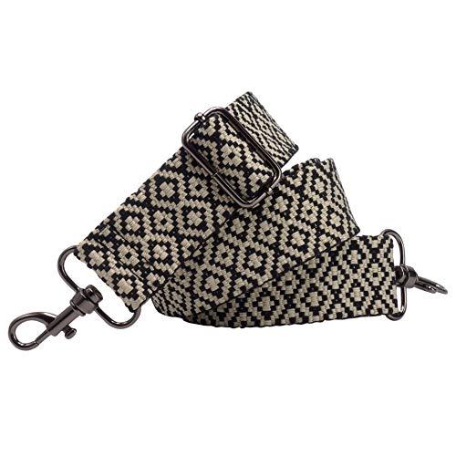 BENAVA Verstellbarer Schulterriemen für Taschen 75-135 cm Taschengurt Breit 40mm | Trageriemen Handtasche Schwarz Weiß Schultergurt Karabiner Schwarz | Taschenriemen Verstellbar Riemen Tasche Stoff