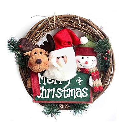 14 Inch Santa Claus Christmas Wreath - Snowman Grapevine Wreath, Merry Christmas Wreath with Reindeer Snowman Santa Claus Front Door Wreaths for Home Kitchen Wall Window Hall Decor