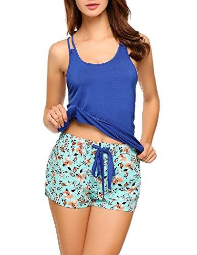 Ekouaer Casual Tank Bottom Cotton Pajama Shorts Set For Women, A(blue), Small