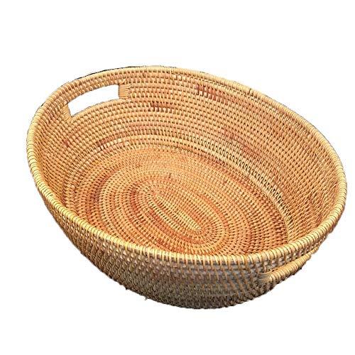 BESTSOON-HGT Panier de Coffre à Coffre Créatif elliptique Hand-Making ménage Fruits Collection Basket Bureau Sundries Panier de Rangement Doublure en Tissu pour Panier en Osier