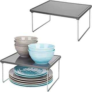 mDesign Decorative Plastic/Metal Storage Shelf - 2 Tier Raised Food and Kitchen Organizer for Cabinets, Pantry Shelves, Countertops, Stackable and Folds Flat - 2 Pack - Charcoal Gray/Chrome