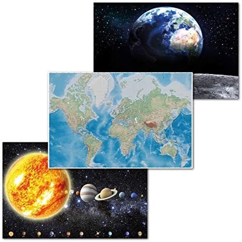 GREAT ART Set di 3 Poster XXL Motivi per Bambini - Set Educativo - Mappamondo Miller Proiezione Sistema Solare Terra Luna Decorazione Interiore Immagine Murale 140 x 100 cm