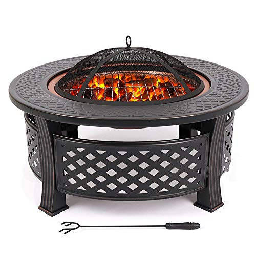 VEDKYY Firepits And Firebowls with Lid Bbq Grill Tripod Guard And Cover Round Large Patio Heater, Fire Pits Bowls for Garden Table Wood Burning Cast Iron Log Burner Outdoor Camping outside Heaters