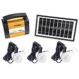 Zerodis Kit de iluminación de energía Solar, Enchufe de la UE 5W Sistema de iluminación móvil Solar portátil Luces LED para emergencias Senderismo